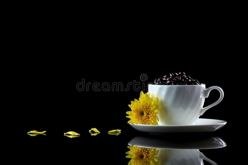 Cup with coffee beans and yellow chrysanthemum on a black reflect. Ive background. Studio shot royalty free stock photo