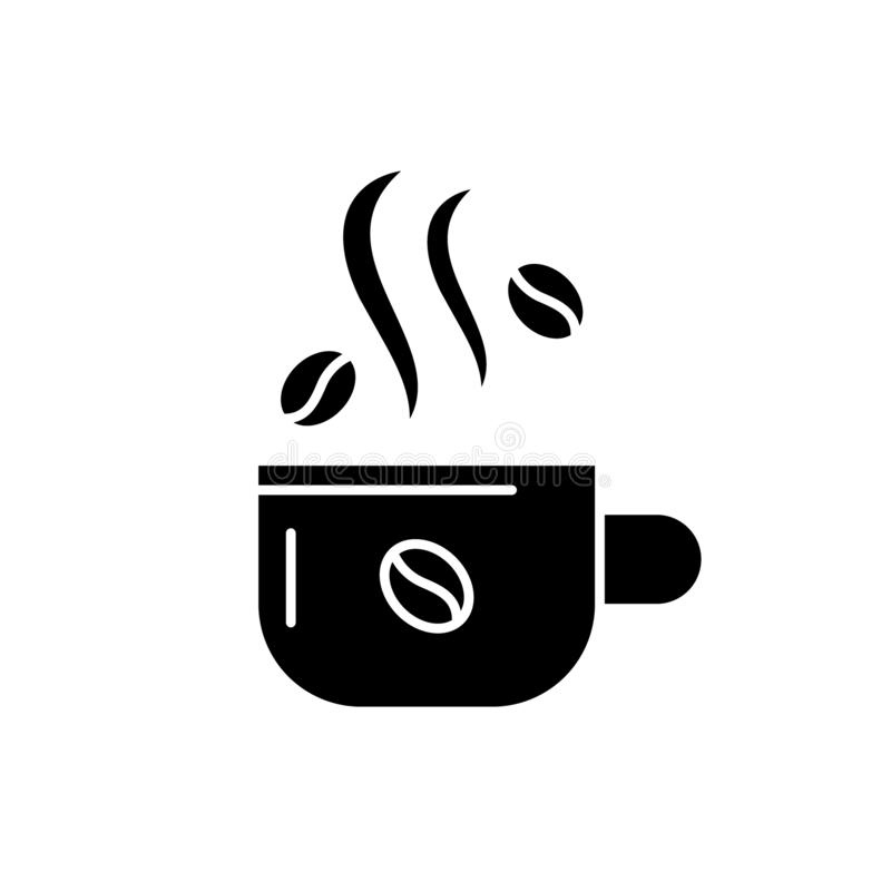 Cup of coffee black icon, vector sign on isolated background. Cup of coffee concept symbol, illustration vector illustration