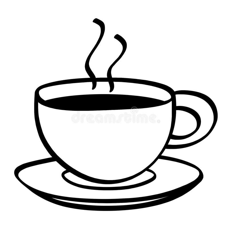 Cup Of Coffee Black And White Illustration Stock ...
