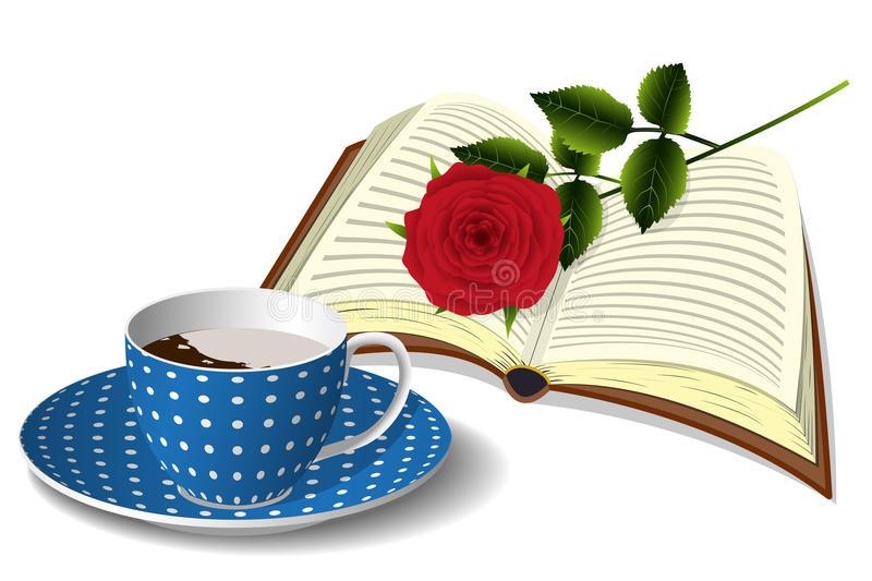 Cup of coffee, book and rose stock illustration