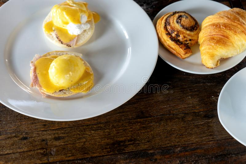 Cup of coffee with breakfast set stock image