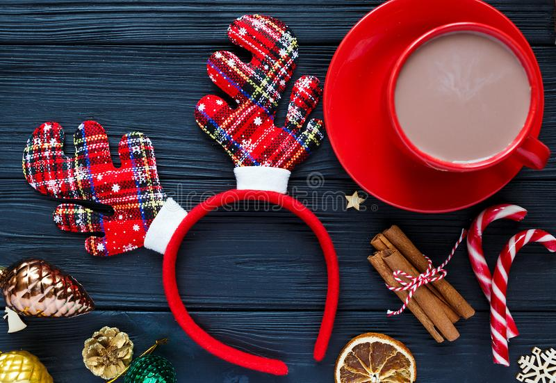 Cup of coffee and buscuits on wooden table. Festive, sweet pastry, delicious biscuits. Home celebration, New Year decoration. Concept stock photos