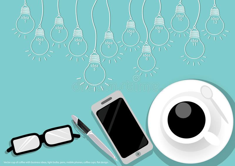 Vector cup of coffee with business ideas, light bulbs, pens, mobile phones, coffee cups, flat design. Cup of coffee with business ideas, light bulbs, pens vector illustration