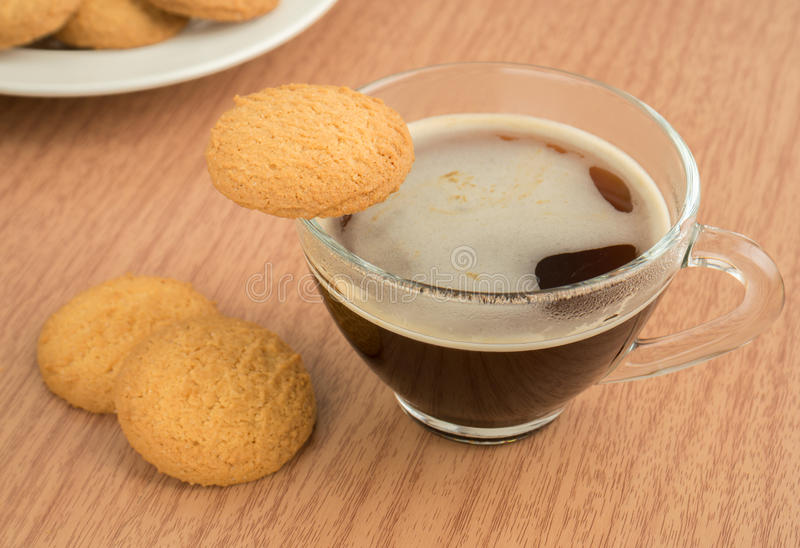 Cup Of Coffee And Butter Biscuit Royalty Free Stock Photography