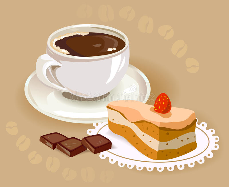 Cup of coffee and a cake stock illustration. Illustration ...