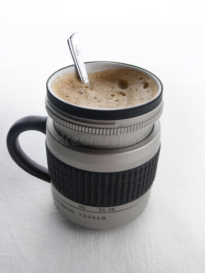 Download Cup of coffee camera lens stock photo. Image of photo - 14204866