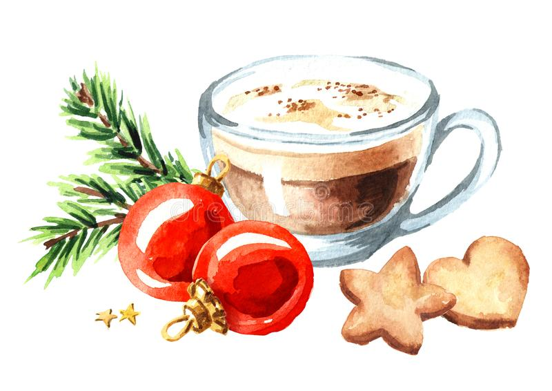Cup of coffee cappuccino with Christmas cookies and red balls with green fir branch. Watercolor hand drawn illustration isolated o royalty free illustration