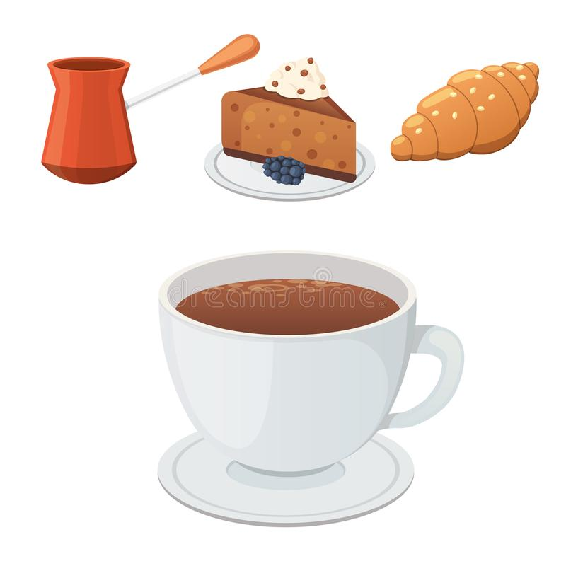 Cup of coffee, cappuccino, latte and chocolate food. Sweet deserts time. Cup of coffee, cappuccino, latte and chocolate food. Sweet deserts time stock illustration