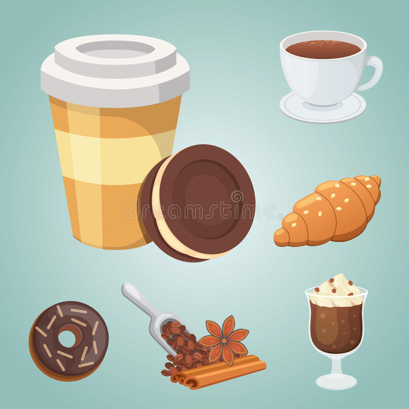 Cup of coffee, cappuccino, latte and chocolate food. Sweet deserts time. Cup of coffee, cappuccino, latte and chocolate food. Sweet deserts time vector illustration