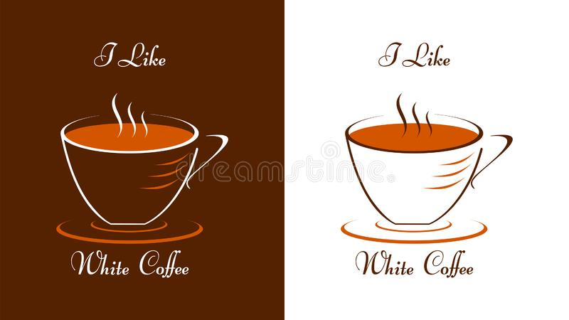 Cup of coffee and caption I like white coffee. A cup of coffee in white and brown. A cup on a saucer. Graphics for the website, menu or advertising materials royalty free illustration
