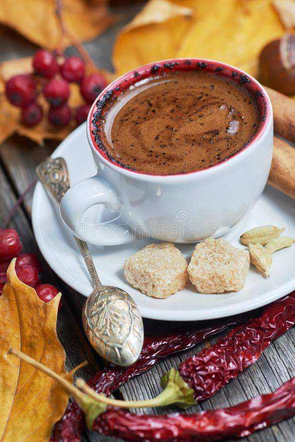 A cup of coffee with chili stock photos