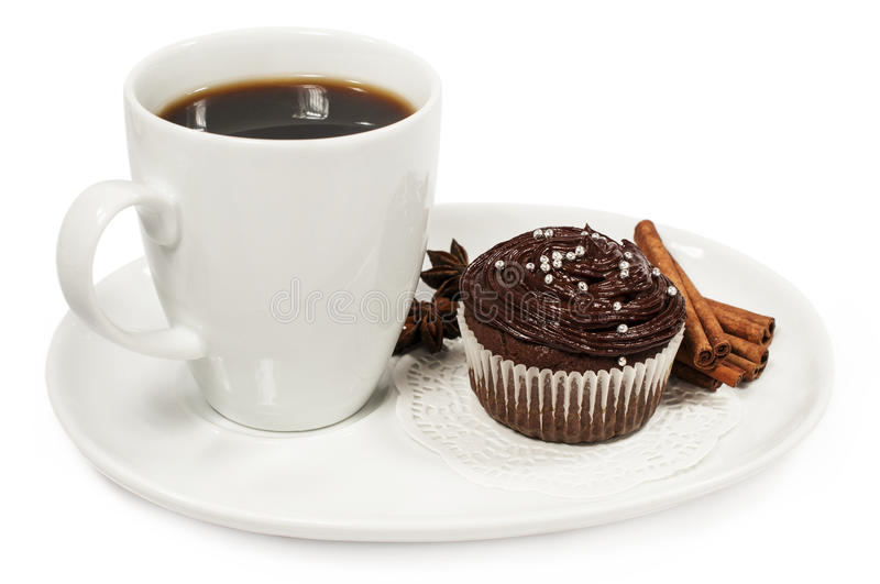 Cup of coffee and chocolate cake. On white royalty free stock photo