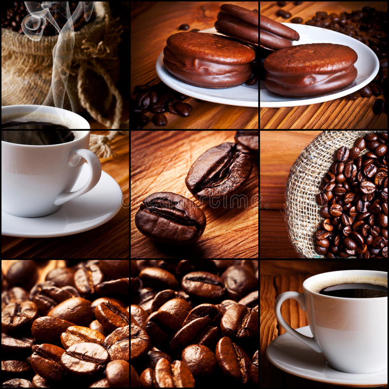 Cup of coffee, chocolate cookies royalty free stock photography