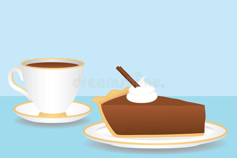 Download Cup Of Coffee And Chocolate Pie Stock Vector - Illustration of mousse, whipped: 13961708