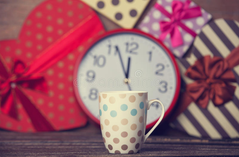 Cup of coffee. On christmas background stock images