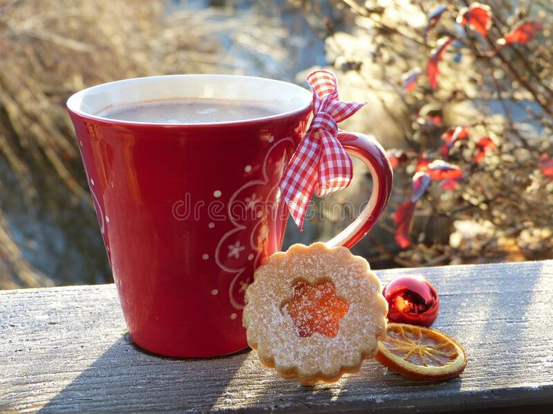 Cup of coffee with Christmas biscuits stock images