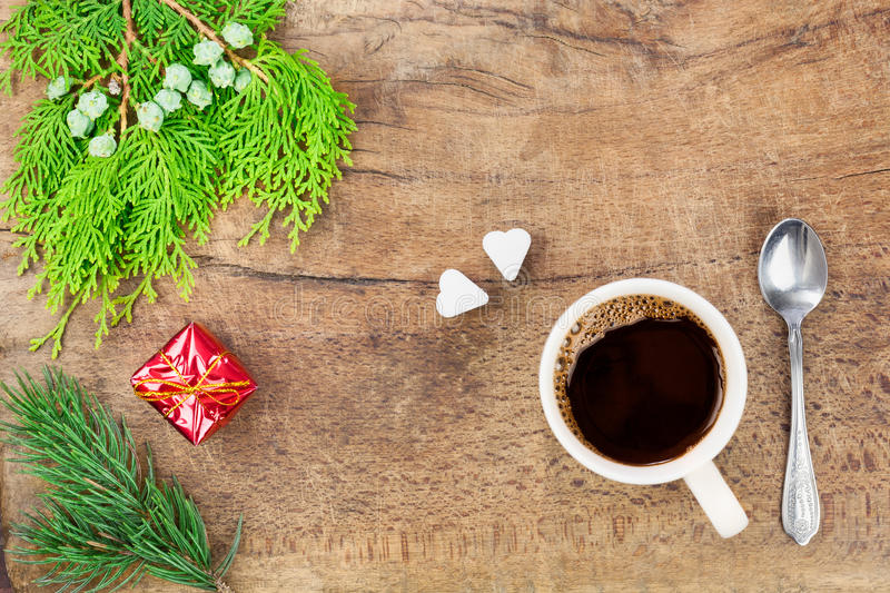 Cup of coffee with christmas decoration II stock image
