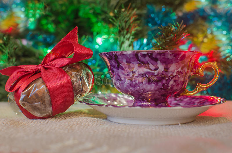 Cup of coffee and christmas gifts stock photo