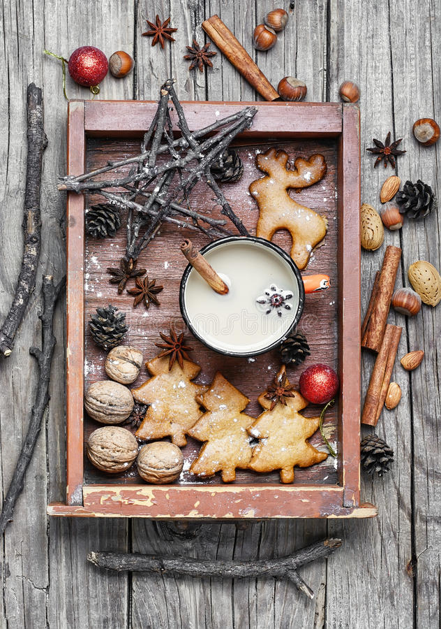 Cup of coffee and christmas symbol in wooden box stock images