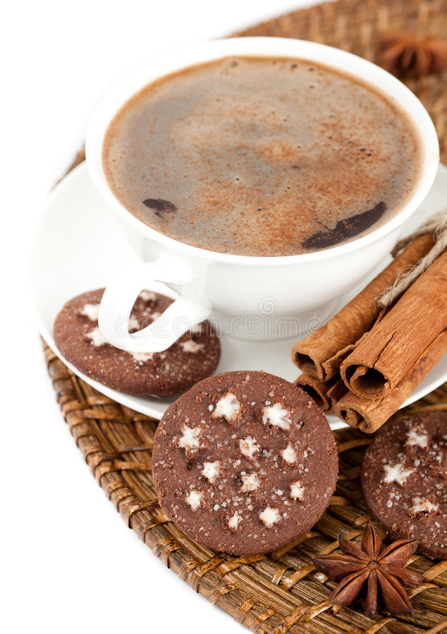 Download A Cup Of Coffee, Cinnamon And Chocolate Chip Cooki Stock Image - Image: 25450775