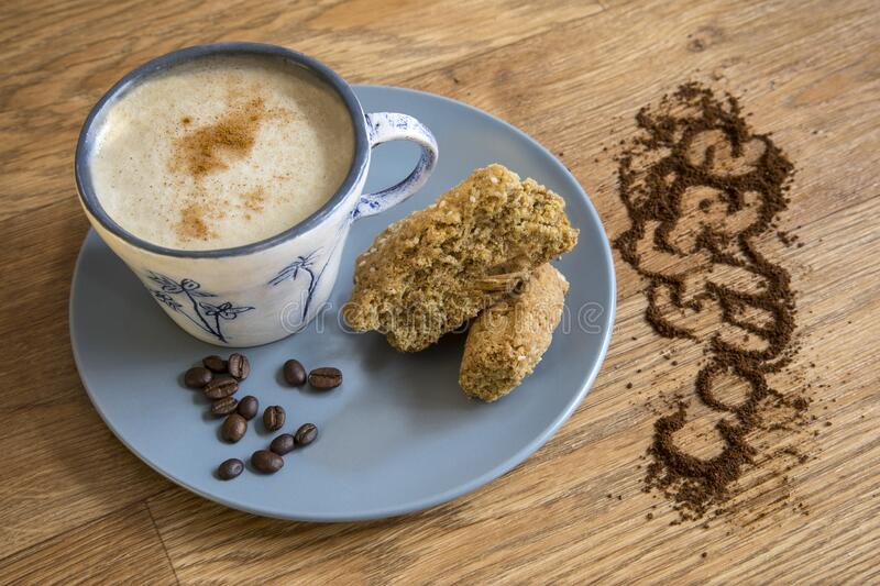 Coffee served with home-made rusks. royalty free stock photography