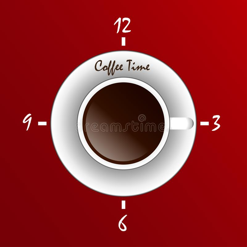 Cup of coffee with clock on its surface. Coffee time, coffee break concept stock illustration