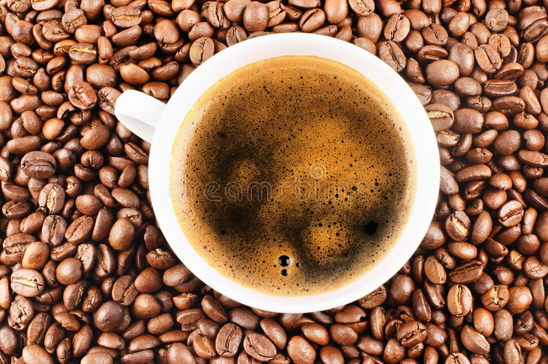 Download Cup Of Coffee And Coffee-beans Stock Photo - Image of caffeine, kitchen: 2012828