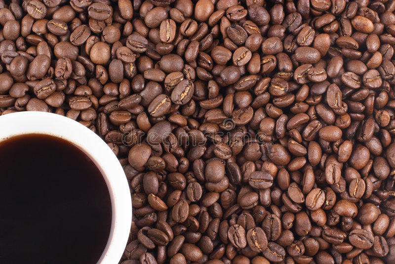 Cup of coffee and coffee-beans stock photo