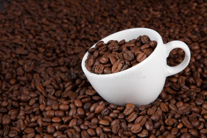 White cup of coffee at coffee beans backgrounds royalty free stock photography