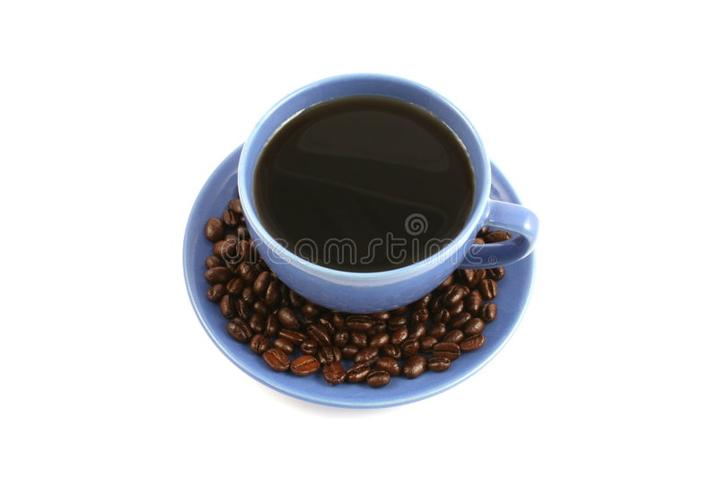 Download Cup Of Coffee With Coffee Beans On Plate Stock Photo - Image: 6988988