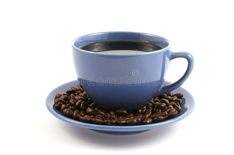 Download Cup Of Coffee With Coffee Beans On Plate Stock Photo - Image of arabica, grains: 6989006