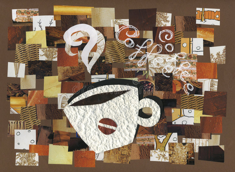 Cup of coffee collage artwork. Collages of different pieces of brown printed paper. An aromatic cup of coffee. Hand made artwork royalty free illustration