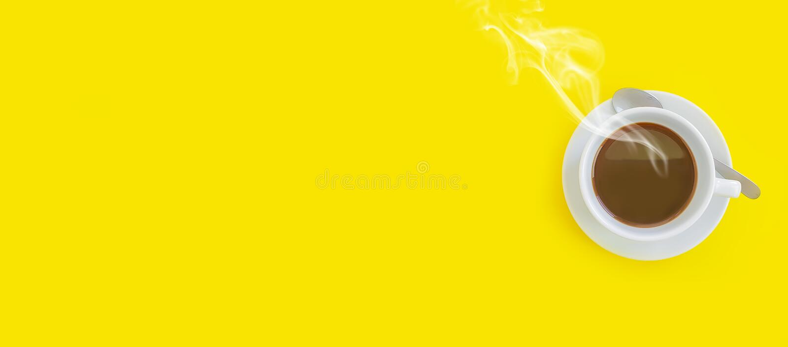 Cup of coffee on a colored background, smoke creative pattern table royalty free stock images