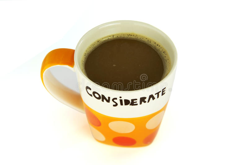 A cup of coffee considerate concept isolate on white stock image