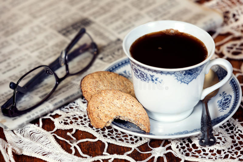 Download Cup Of Coffee And A Cookie. Stock Photo - Image of dark, aroma: 39513918