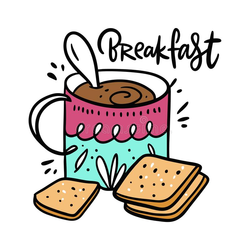 Cup of coffee and cookie. Hand drawn vector illustration and lettering. Isolated on white background. stock illustration