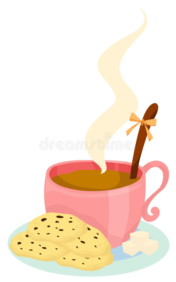 Cup of coffee with cookies. Illustration of isolated a cup of coffee with cookies royalty free illustration