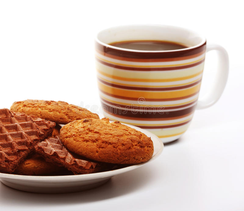 Download Cup of coffee with cookies stock photo. Image of drink - 39903492
