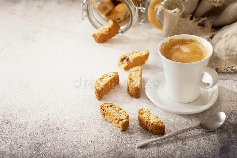 Cup of coffee with cookies royalty free stock image