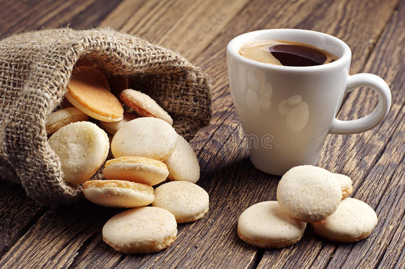 Download Cup of coffee and cookies stock image. Image of sack - 40071887