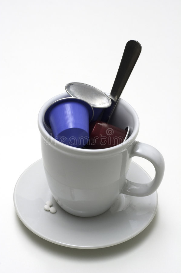 Cup Of Coffee Creamers Stock Photos