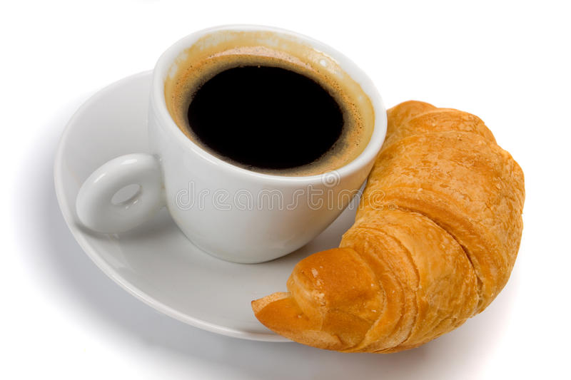 Cup Of Coffee With Croissant Stock Images