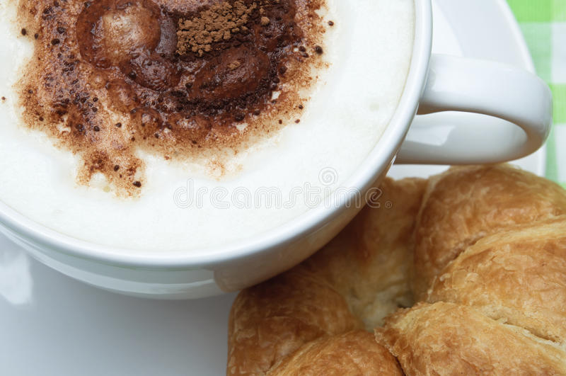 Cup Of Coffee And Croissant Stock Photography