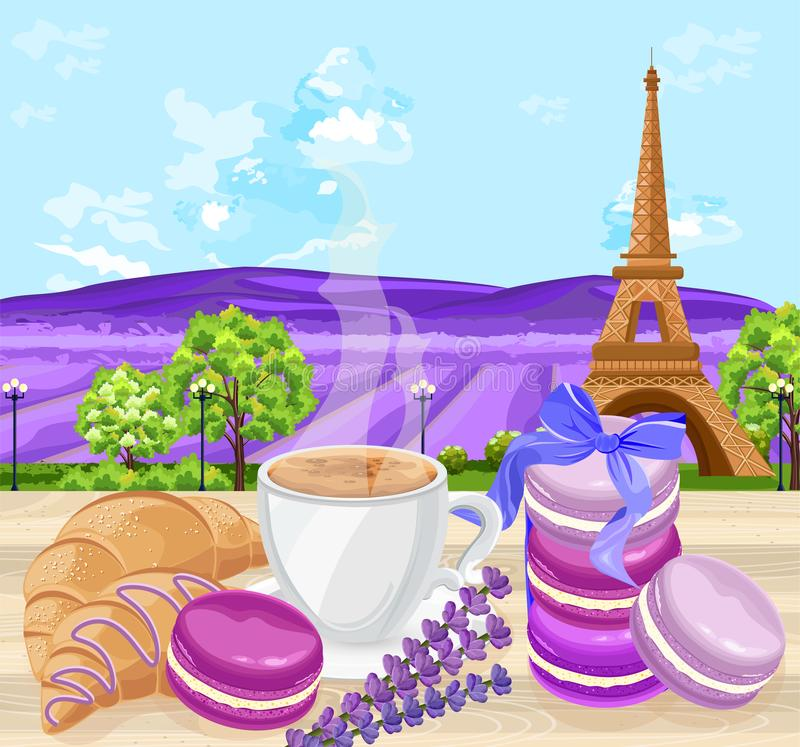 Cup of coffee with Croissants and macaroons french traditional desserts Vector. Lavender fields and Eiffel Tower stock illustration