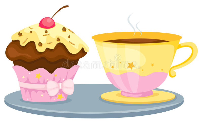 Cup of coffee cup cake royalty free stock photos