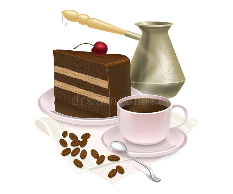 Cup of coffee and delicious cake. Vector illustration royalty free illustration