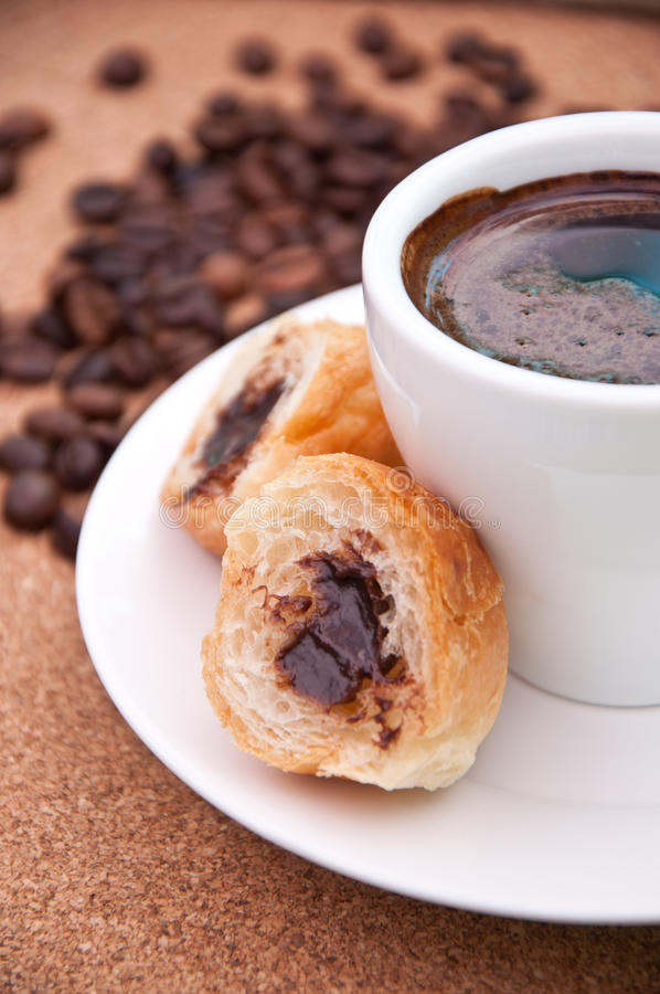Cup Of Coffee And Desert Royalty Free Stock Photo