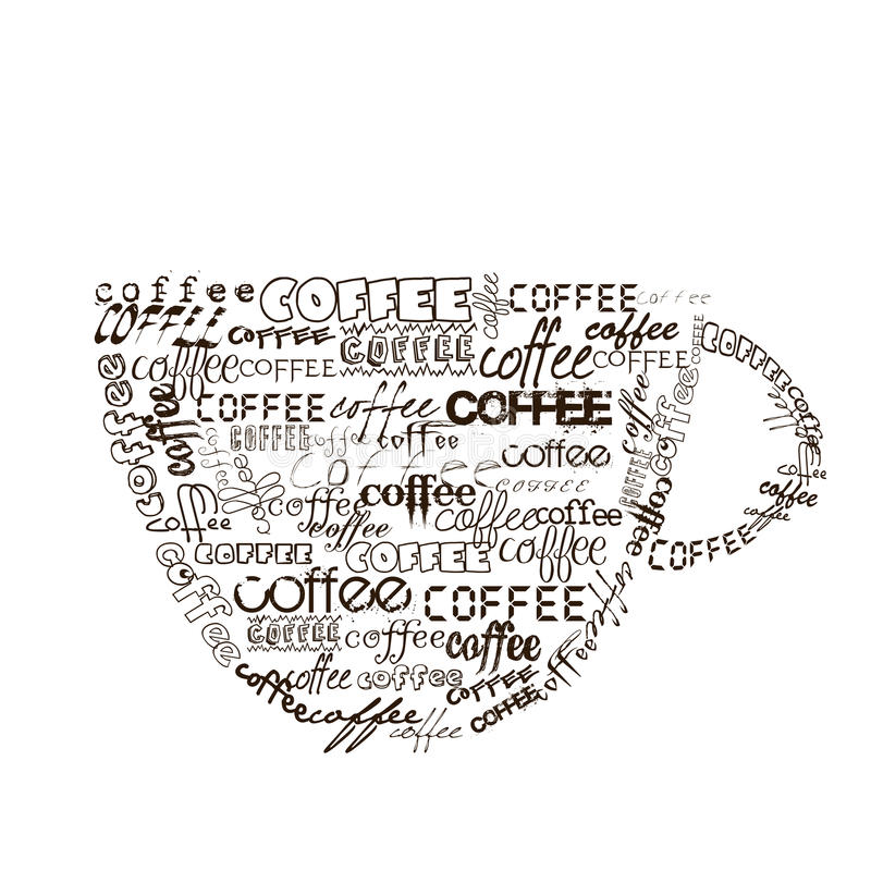 Cup of coffee with different fonts. Stylized cup of coffee with different fonts royalty free illustration