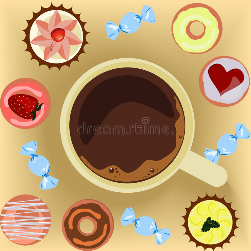 Cup of coffee with donuts stock illustration