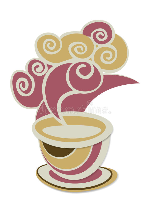 Coffee. Earthtone cup of coffee with smoke for breakfast vector illustration